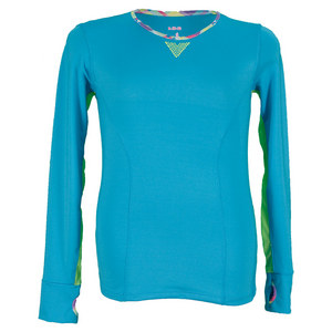 LUCKY IN LOVE GIRLS LS MESH TRIM TENNIS TOP OCN BLUE