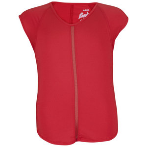 LUCKY IN LOVE GIRLS SHORT SLEEVE TENNIS TOP RUBY