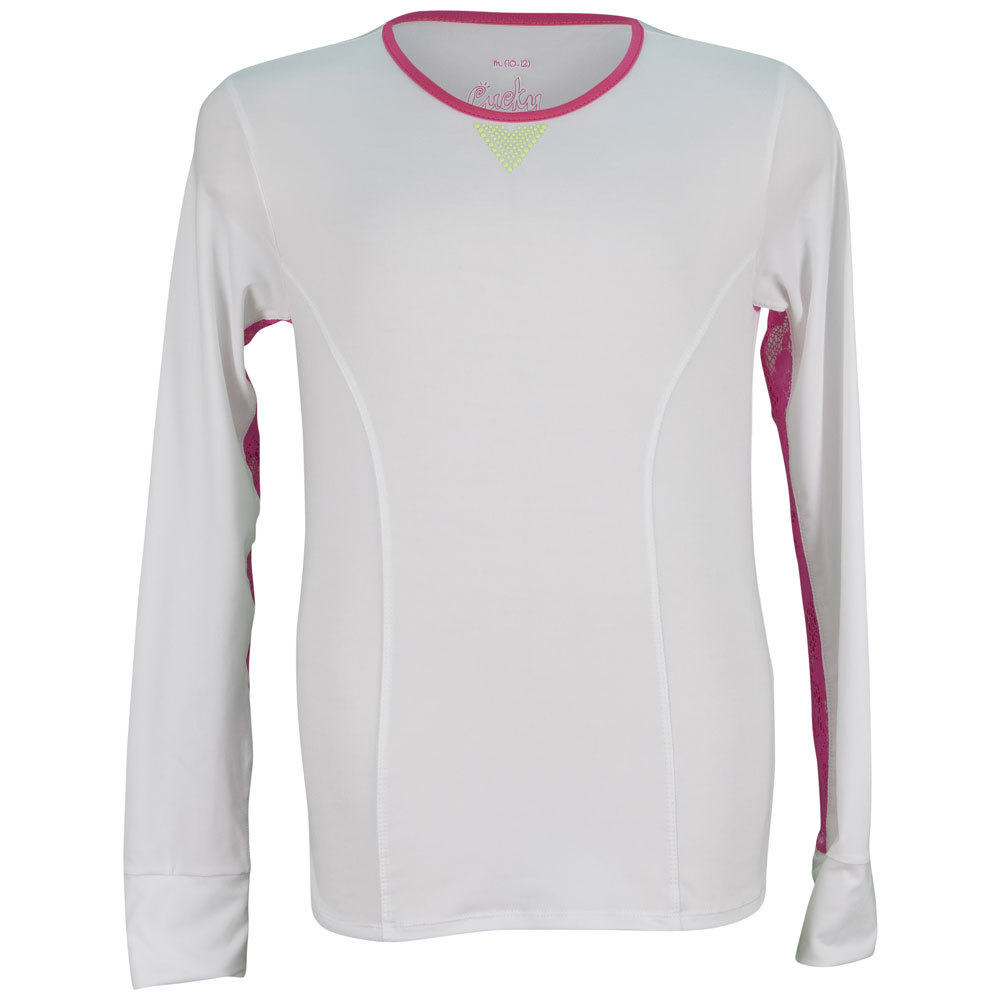 Girls ` Long Sleeve With Lace Trim Tennis Top White And Shocking Pink