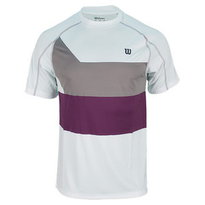 WILSON MENS ASHLAND COLORBAND TENNIS CREW WH/GY