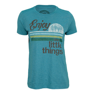 LIFE IS GOOD WOMENS LITTLE THINGS TEE TURQUOISE BLUE