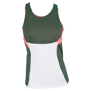 LUCKY IN LOVE WOMENS HIGH NECK TENNIS TANK OLIVE/WH