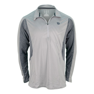 WILSON MENS ASHLAND LS 1/2 ZIP TOP COOL GY/HTH