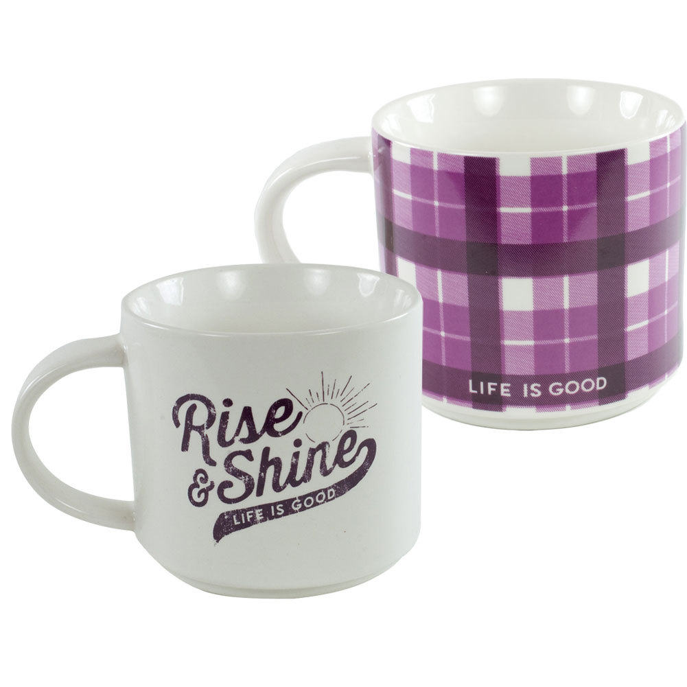 Rise And Shine Stack- Happy Mug Ivory And Plum Plaid