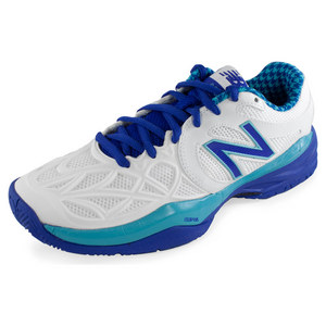 Women`s 996 B Width Tennis Shoes Paradise Blue and White