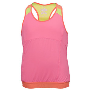 LUCKY IN LOVE GIRLS BANDED RACERBACK TENNIS TANK PINK