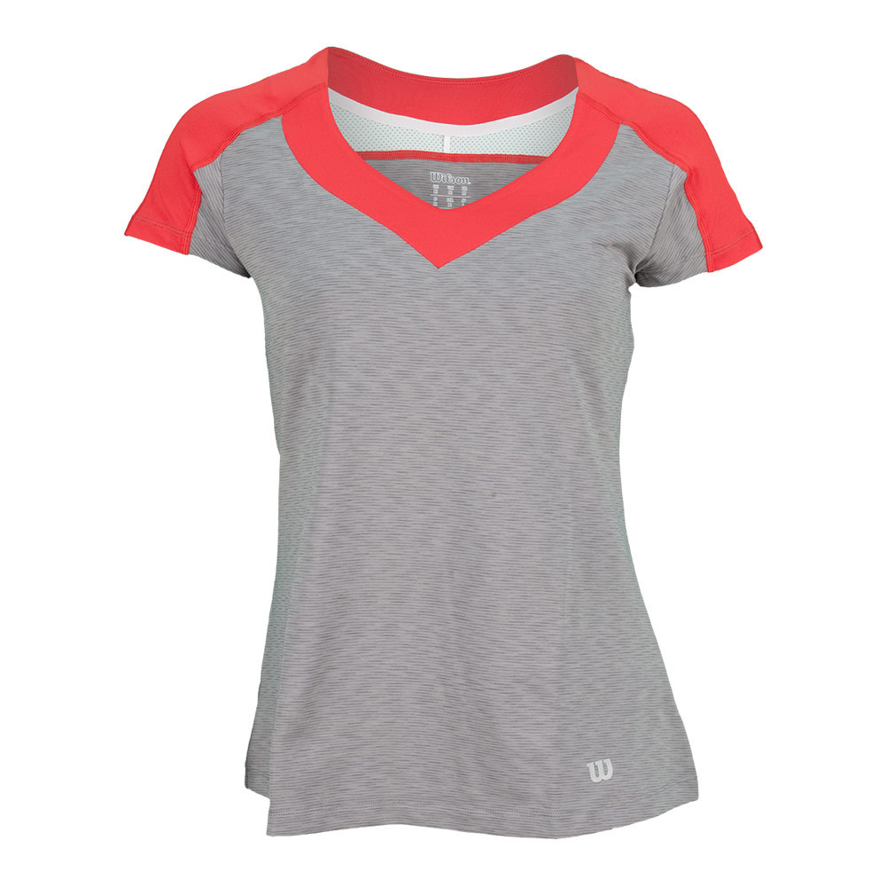 Women's Ashland Colorblock Cap Sleeve Top Graphite Heather And Red