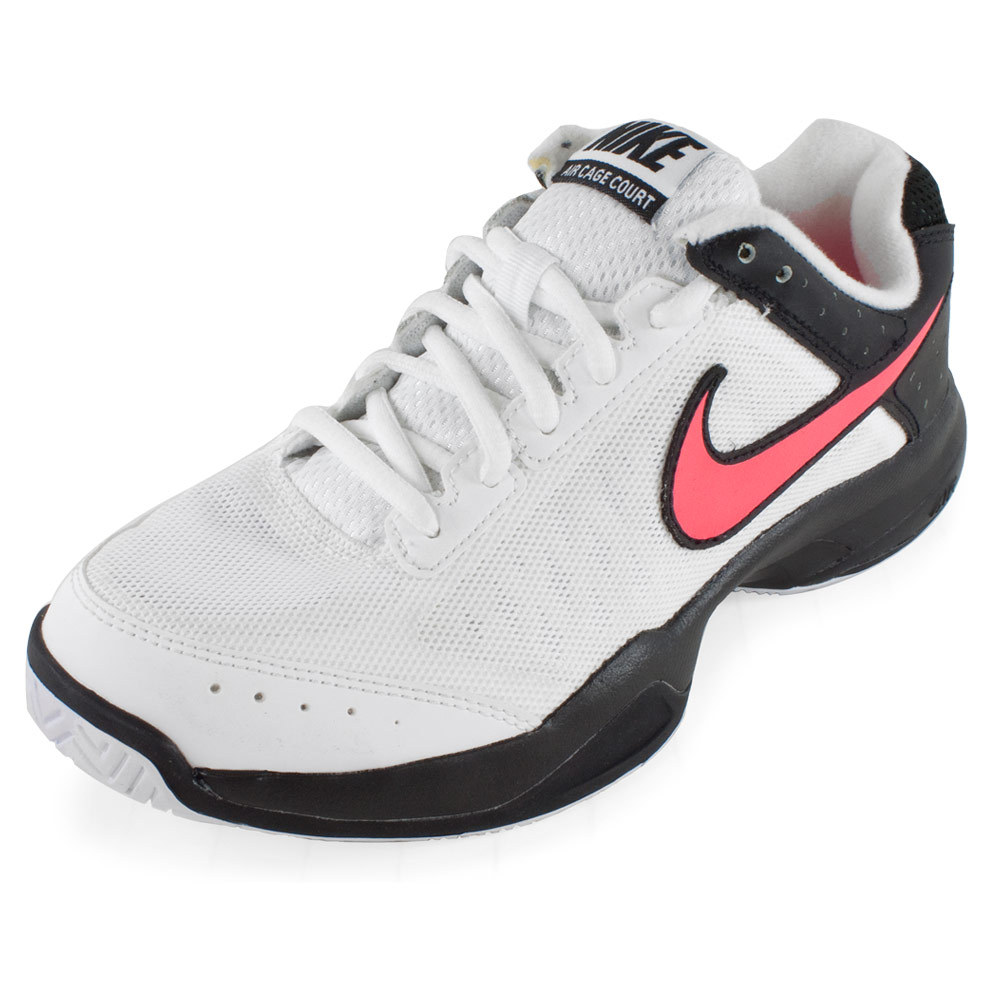 Nike Women's Air Cage Court Tennis Shoes White and Black - Tennis Express