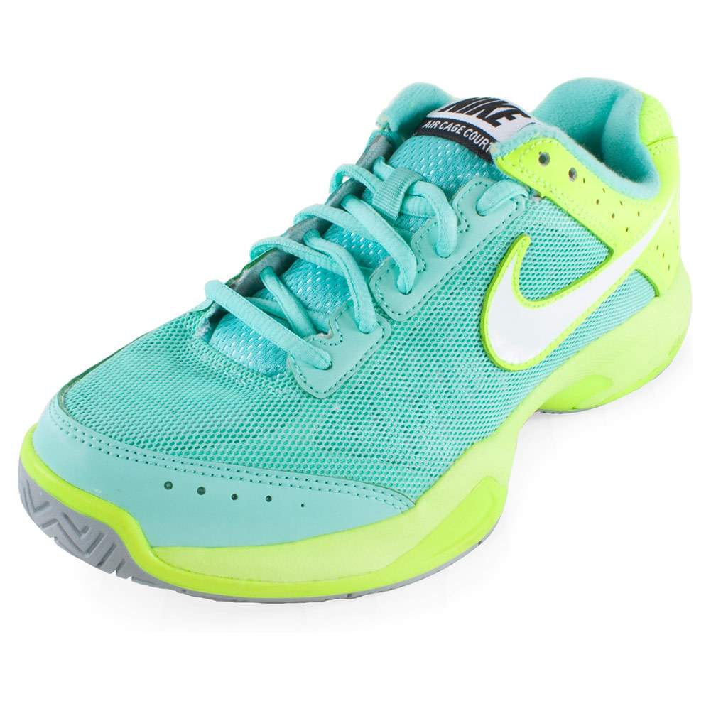 Nike Women's Air Cage Court Tennis Shoes Bleached Turq and Volt - Tennis Express