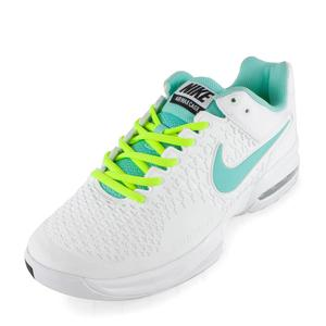 Women`s Air Max Cage Tennis Shoes White and Volt
