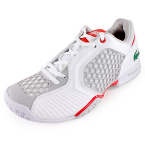 LACOSTE WOMENS REPEL 2 TENNIS SHOES WHITE/RED