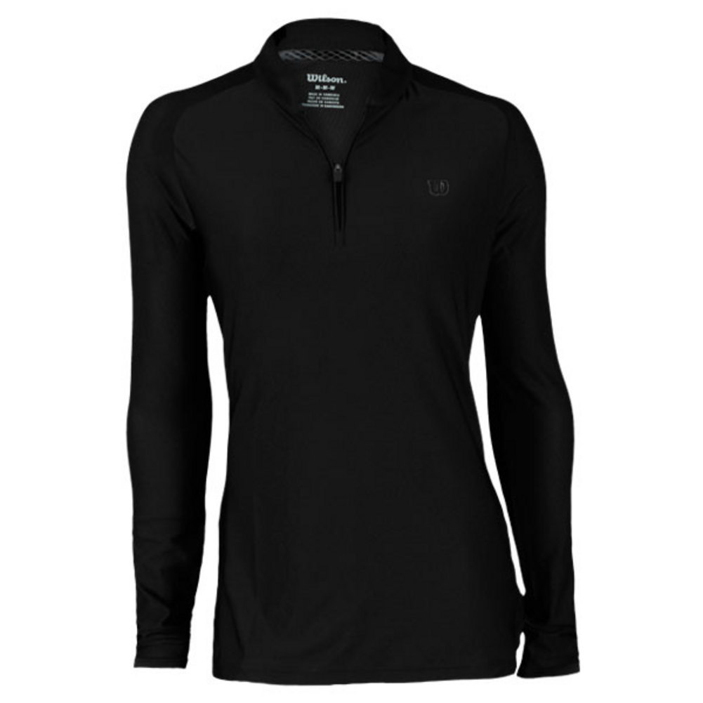 Womens Garden LS Pull Over The Wilson Womens Garden Long Sleeve Pullover features a low mock neck with 14 zip front and mesh detail for enhanced ventilation This sporty pullover is a great option for cooler days on or off the courtFabric 88 Polyester 12 Spandex knit