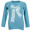 LIFE IS GOOD Girls` Long Sleeve Give Bow Tee Turquoise Blue