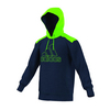ADIDAS Men`s Ultimate Fleece Pullover Hoodie Collegiate Navy and Solar Green