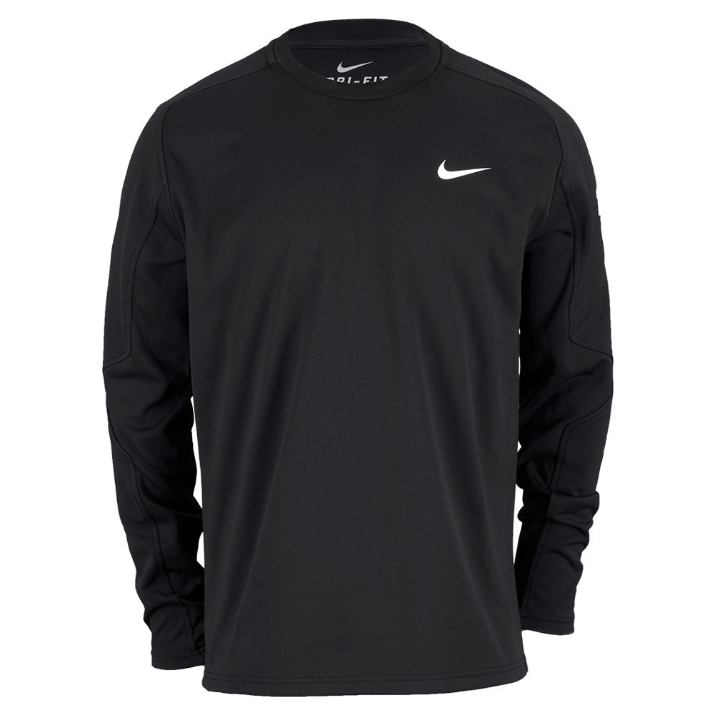 Men`s Practice Long Sleeve French Terry Tennis Crew Black