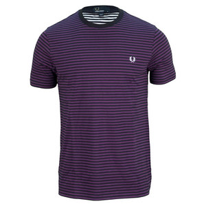 Men`s Sharp Stripe Tennis Tee Navy and Purple