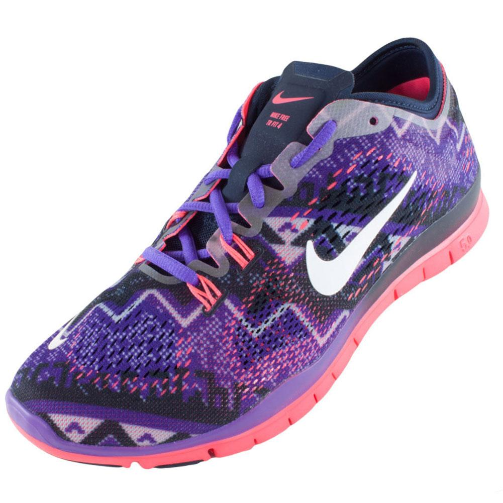 Women`s Free 5.0 Training Fit 4 Print Shoes Obsidian and Hyper Grape