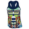 LUCKY IN LOVE Women`s Tropical Racerback Tennis Tank Navy