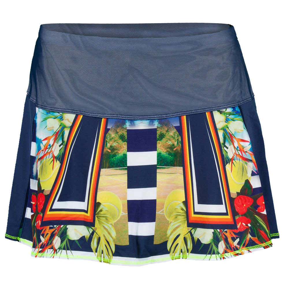 Lucky In Love Women`s Tropical Flounce Tennis Skort Navy