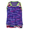 LUCKY IN LOVE Girls` Mesh Drape Camo Tennis Tank Grape