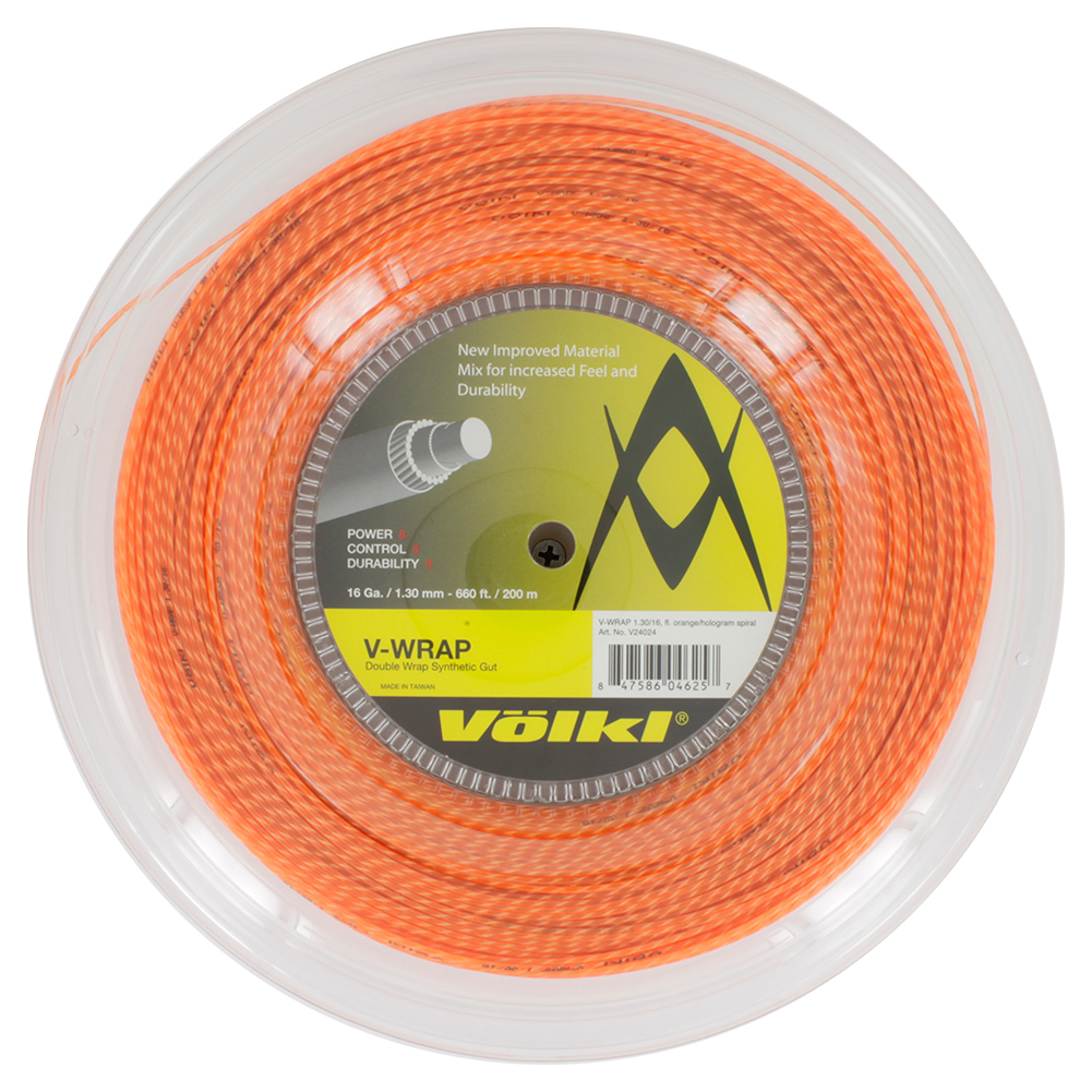 V- Wrap 16g Tennis String Reel Orange Spiral