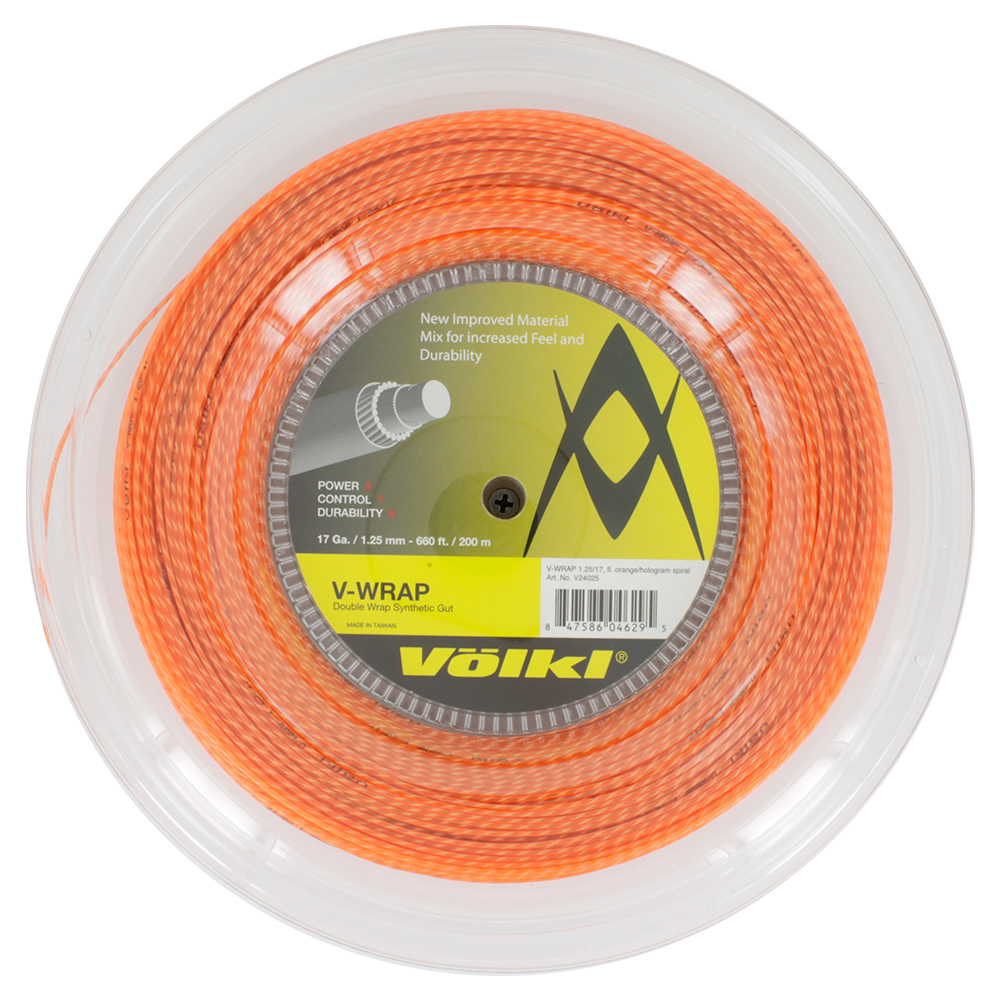 V- Wrap 17g Tennis String Reel Orange Spiral