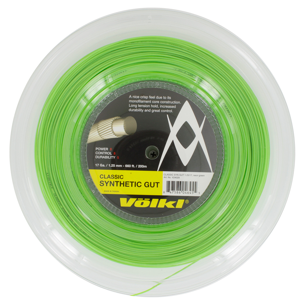 Classic Synthetic Gut 17g Tennis String Reel Neon Green