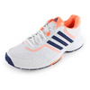 ADIDAS Women`s Barricade Court Tennis Shoes White and Flash Orange