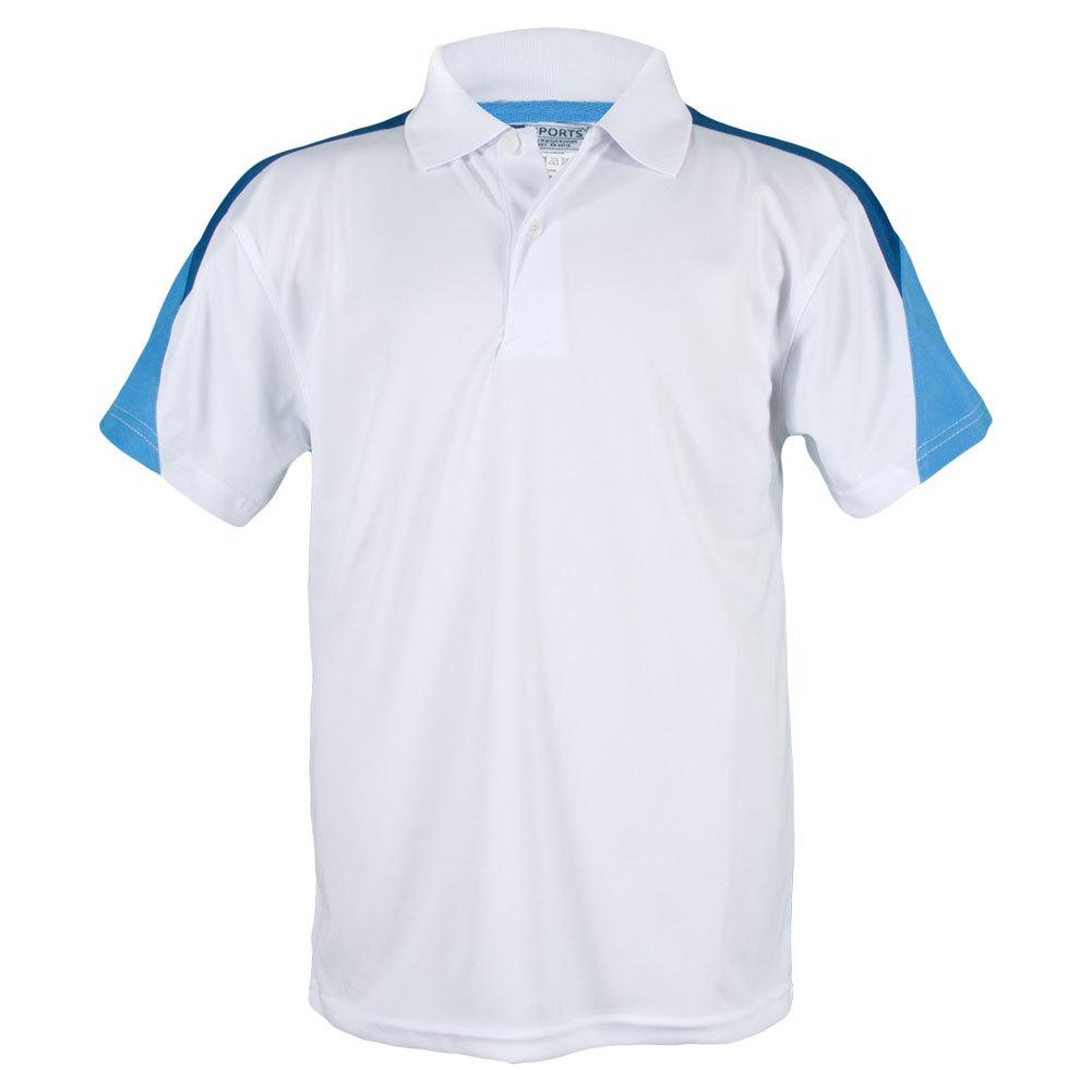 Boys ` Classic Tech Mircopoly Tennis Polo White And Blue