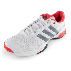 Men`s Barricade Team 4 Tennis Shoes White and Bright Red