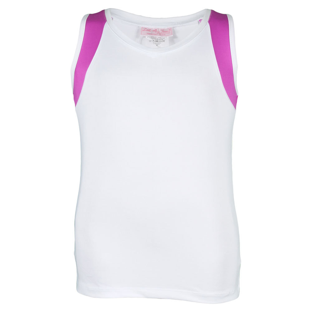 Girls ` Tennis Tank White And Fuchsia