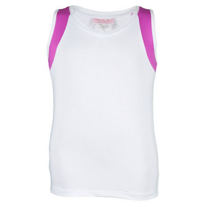 LITTLE MISS TENNIS GIRLS TENNIS TANK WHITE/FUCHSIA