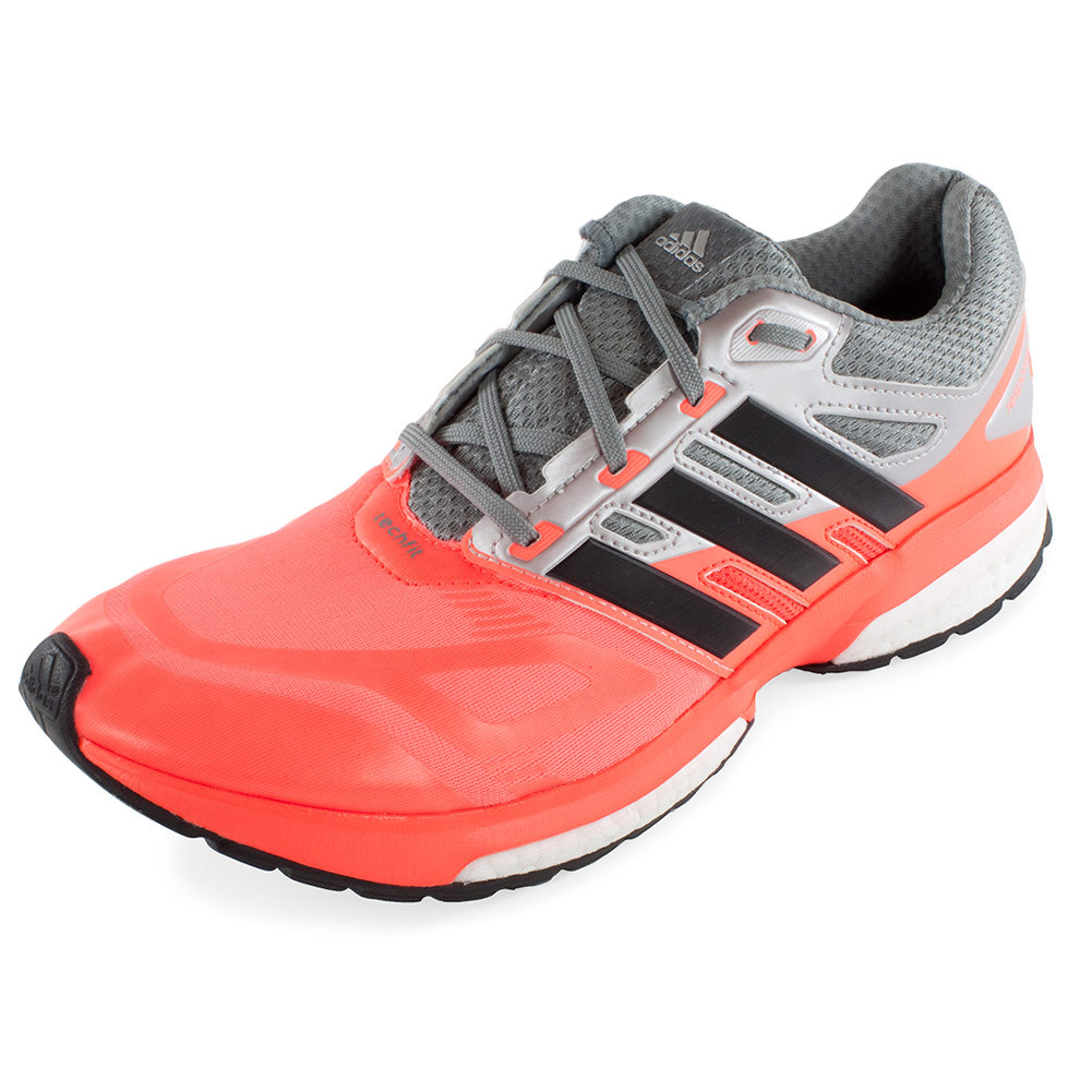Men's Response Boost Techfit Running Shoes Solar Red And Black