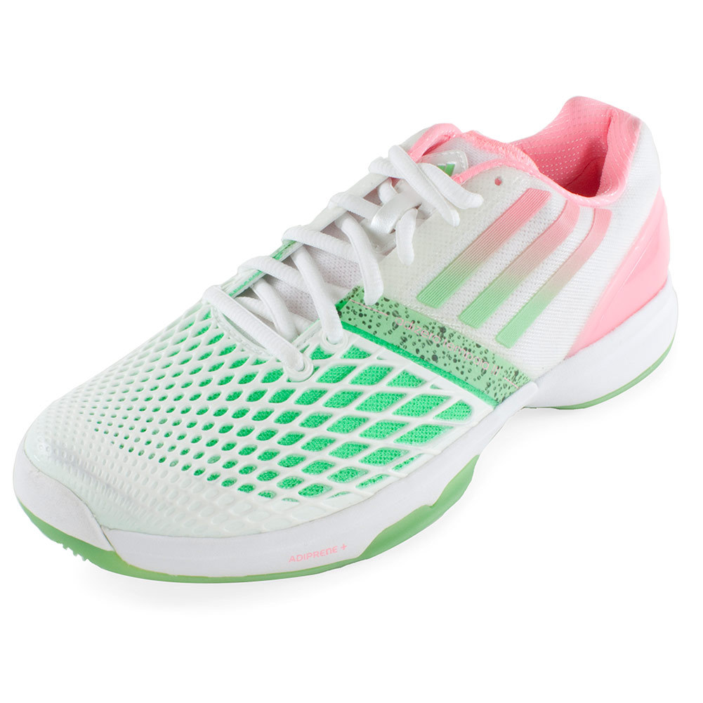 Women's Cc Adizero Tempaia Iii Tennis Shoes White And Light Flash Green