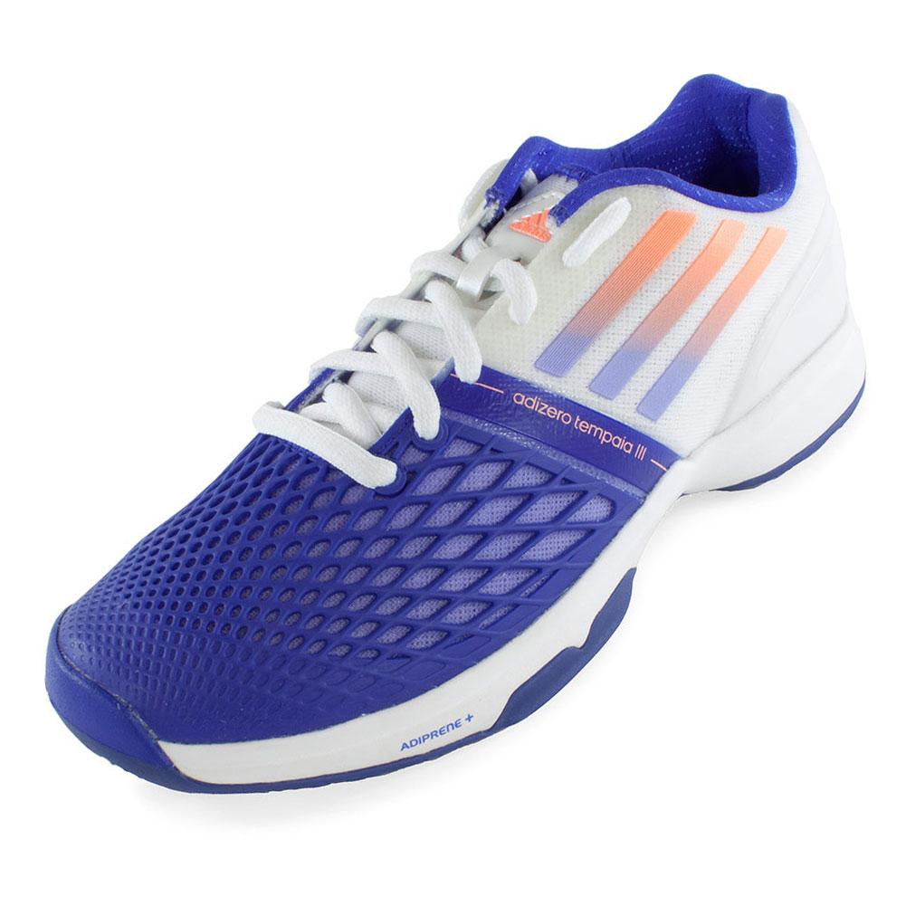 adidas Women`s CC Adizero Tempaia III Tennis Shoes White and Light Flash Purple