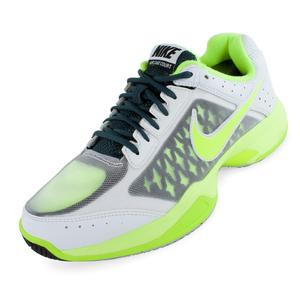 Men`s Air Cage Court Tennis Shoes White and Classic Charcoal