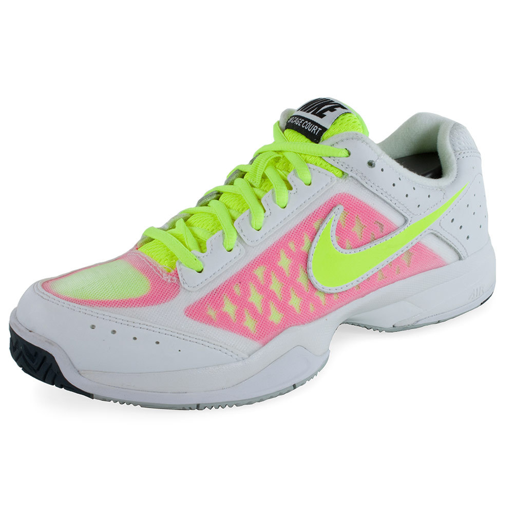 nike s air cage court tennis shoes white and pink pow