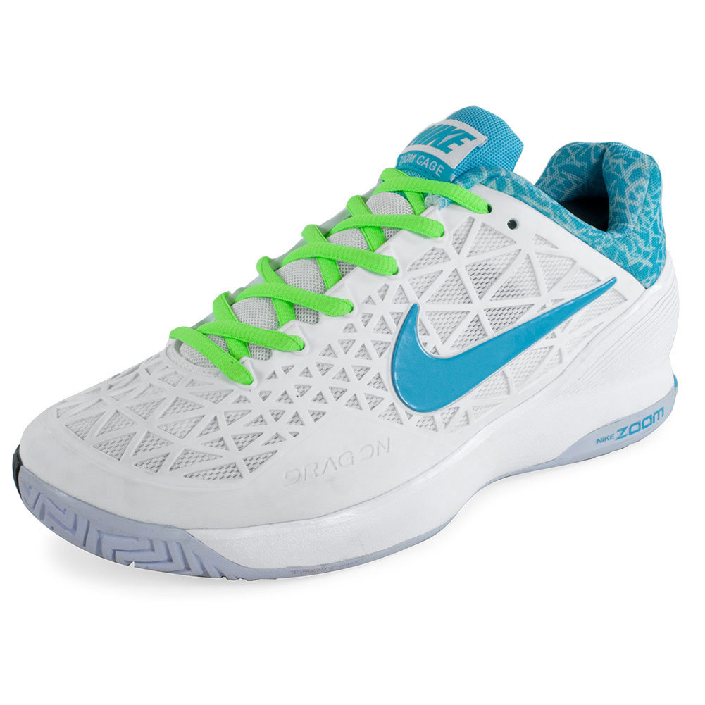 NIKE NIKE Women's Zoom Cage 2 Tennis Shoes White And Flash Lime