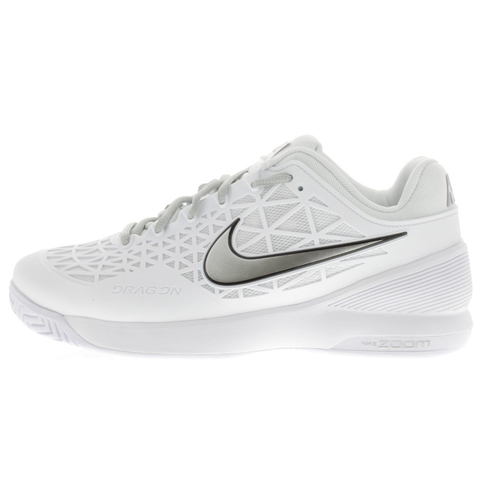 nike s zoom cage 2 tennis shoes white and platinum