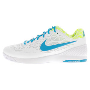 Men`s Zoom Cage 2 Tennis Shoes White and Volt