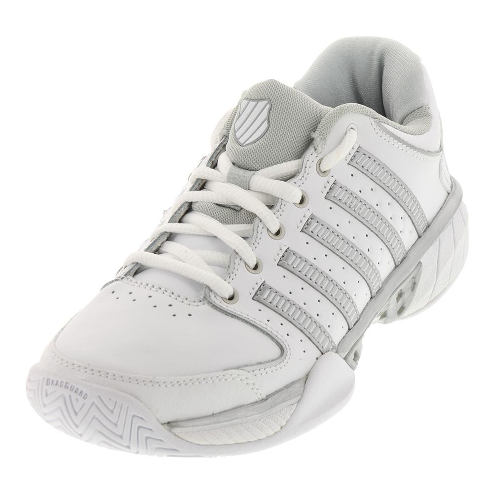 Women's Hypercourt Express Leather Tennis Shoes White And Silver