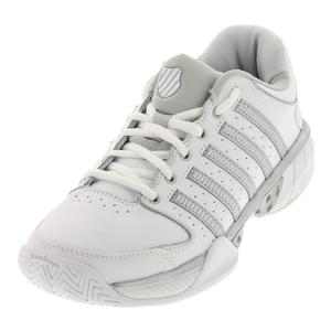 Women`s HyperCourt Express Leather Tennis Shoes White and Silver
