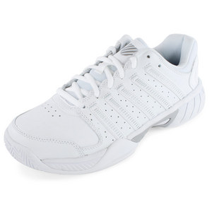 Women`s Express Leather Tennis Shoes White and Silver