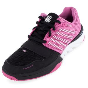 Women`s X Court Tennis Shoes Black and Shocking Pink
