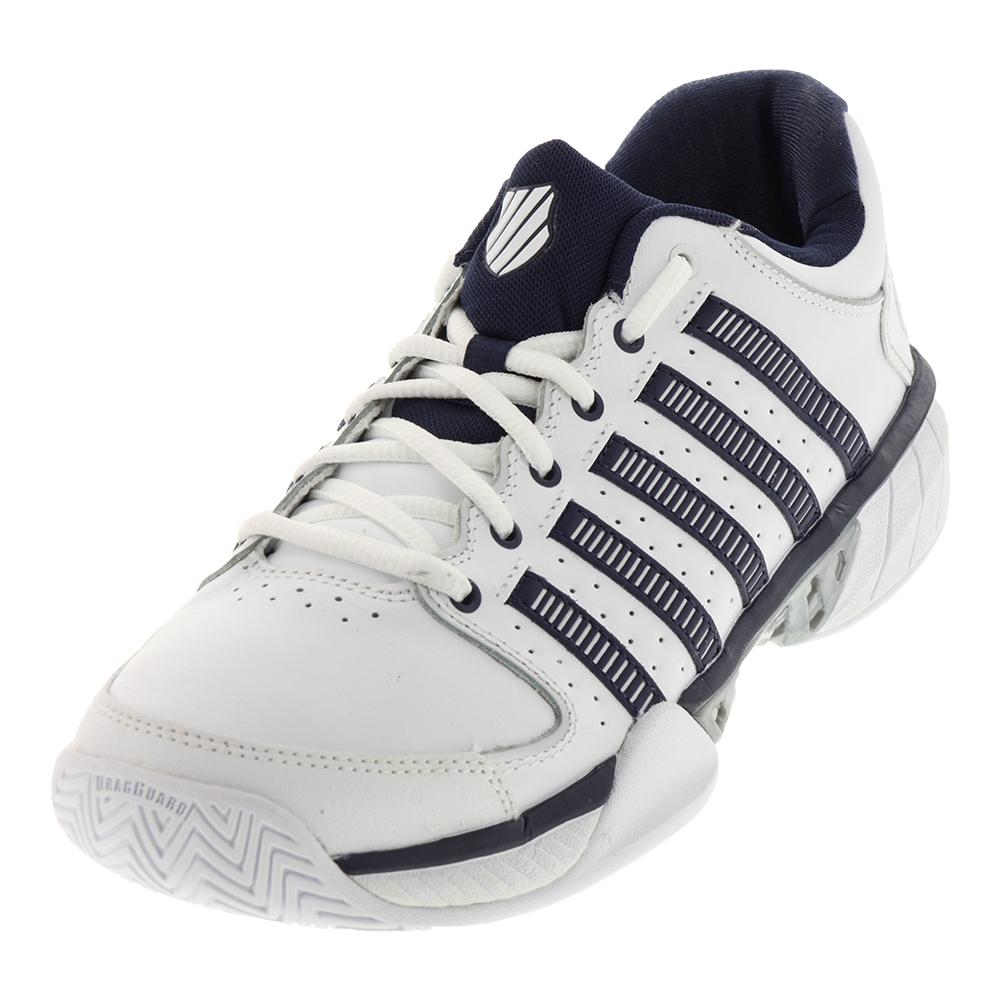 Men's Hypercourt Express Leather Tennis Shoes White And Navy