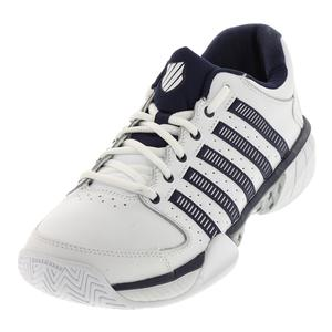 Men`s HyperCourt Express Leather Tennis Shoes White and Navy