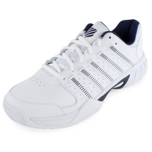 Men`s Express Leather Tennis Shoes White and Navy