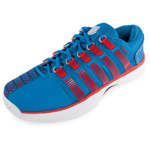 Men`s HyperCourt Tennis Shoes Methyl Blue and Fiery Red