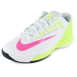 Women`s Lunar Ballistec 1.5 Tennis Shoes White and Volt