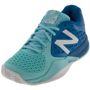 Women`s 996v2 B Width Tennis Shoes Light Blue and Blue
